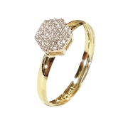 Anel Ouro 18k Pave Sextavado AN355Z