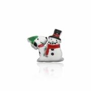 Berloque Prata Snoopy com Boneco de Neve P05957-36