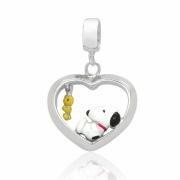 Berloque Prata Snoopy Deitado no Coração P05952-36