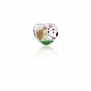 Berloque Prata Snoopy Dog Coração P05947-36