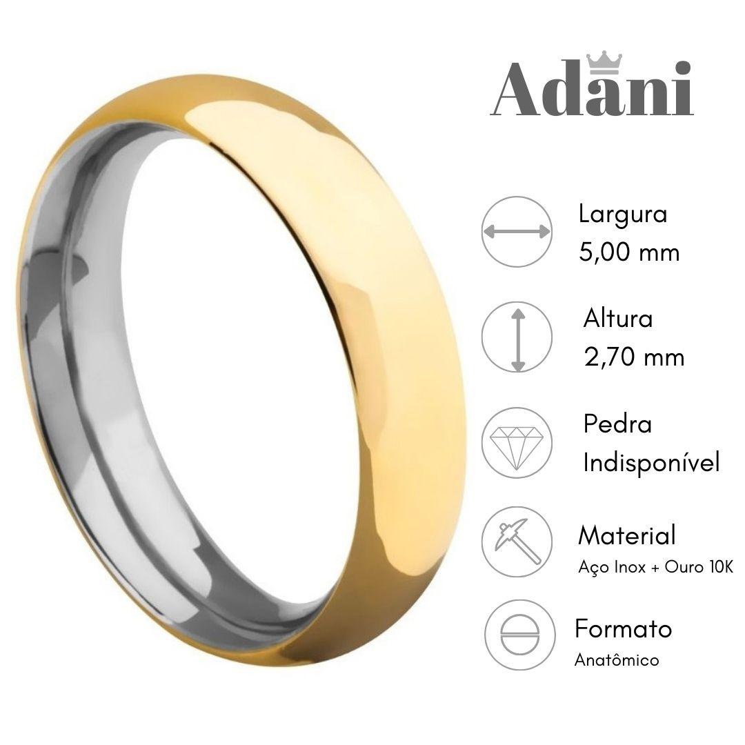 Aliança Aço com Ouro 10k AE-550