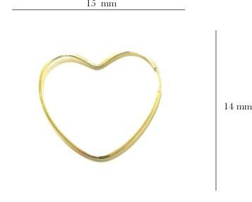 Brinco Ouro 18k Argola Coração BR-8032-L