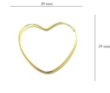 Brinco Ouro 18k Argola Coração BR-8033-L