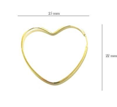 Brinco Ouro 18k Argola Coração BR-8034-L
