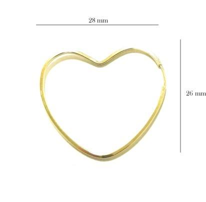 Brinco Ouro 18k Argola Coração BR-8035-L