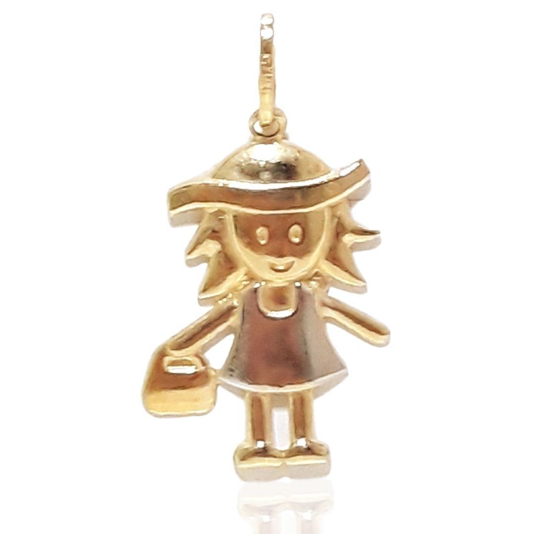 Pingente Ouro 18k Menina com Bolsa 002103
