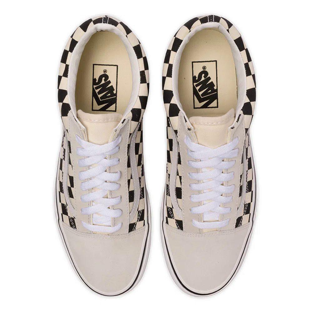 Tênis Vans Old Skool Checkerboard White - black