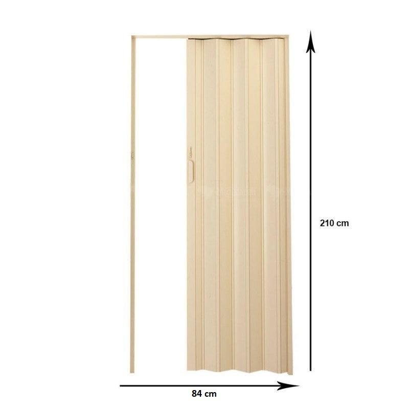 Porta Sanfonada PVC Bege 2,10x0,84 Plasflex