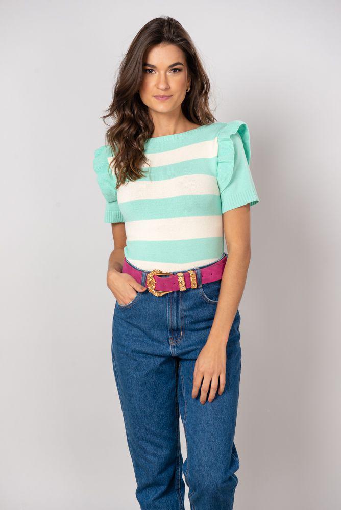 Blusa tricot de listra com babado