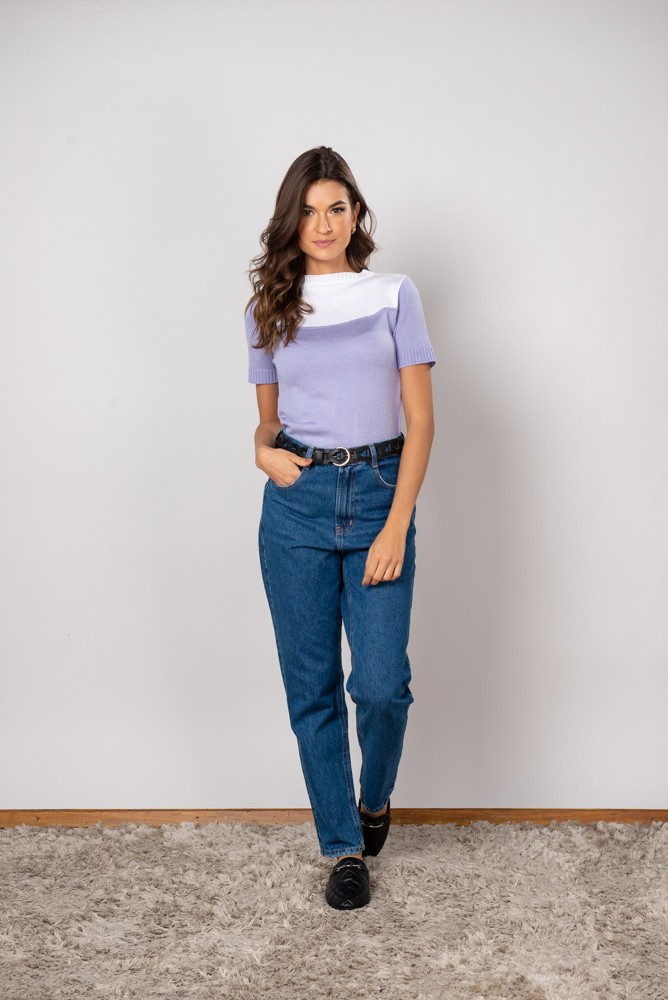 Calça Jeans Mom Cinto preto