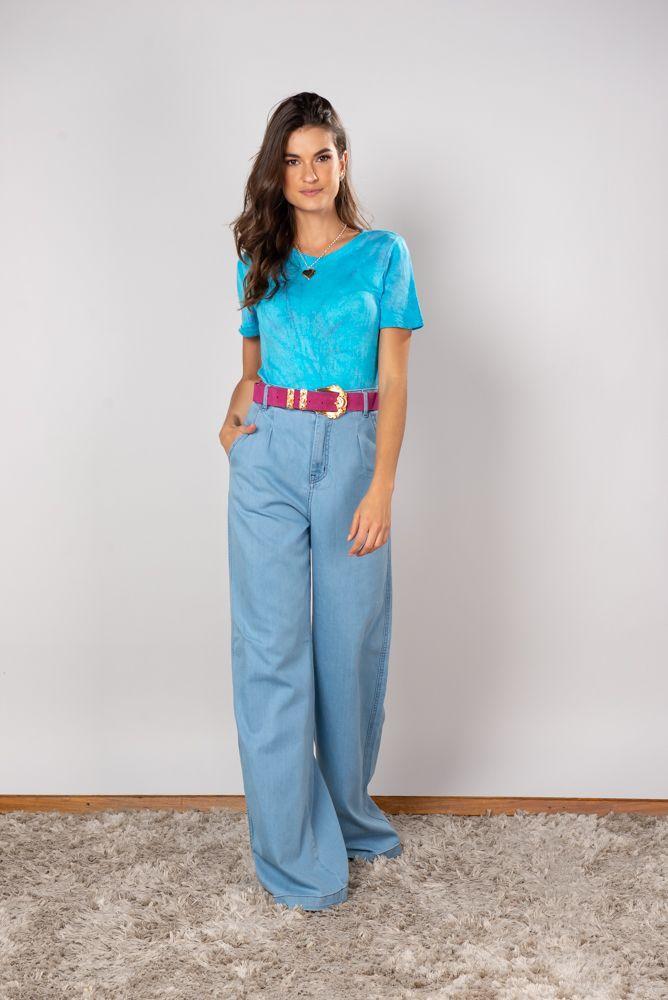 Calça Jeans Pantalona