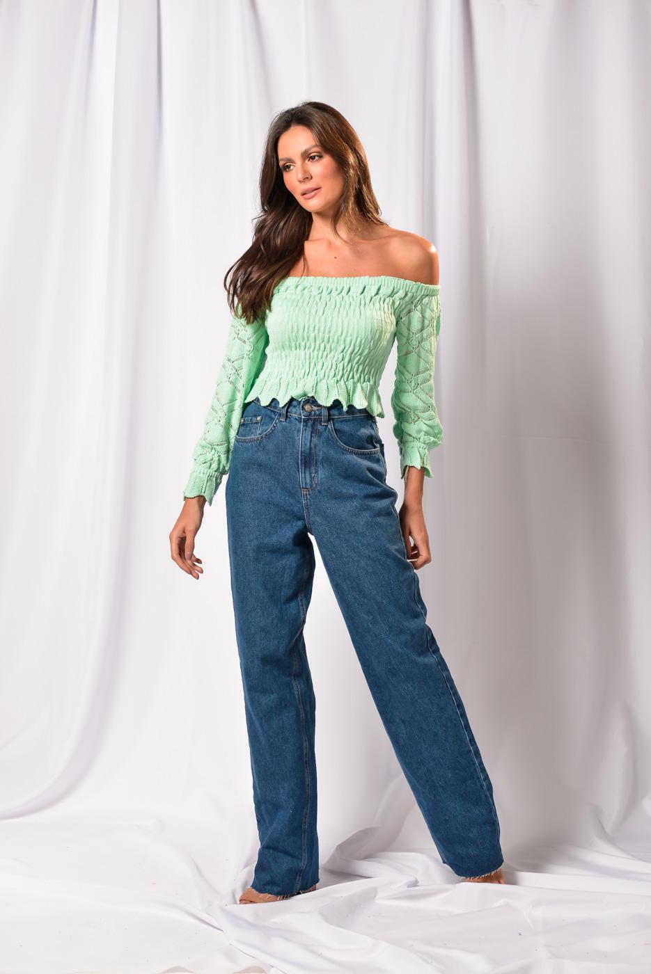 Calça Jeans Wide Leg Marcele