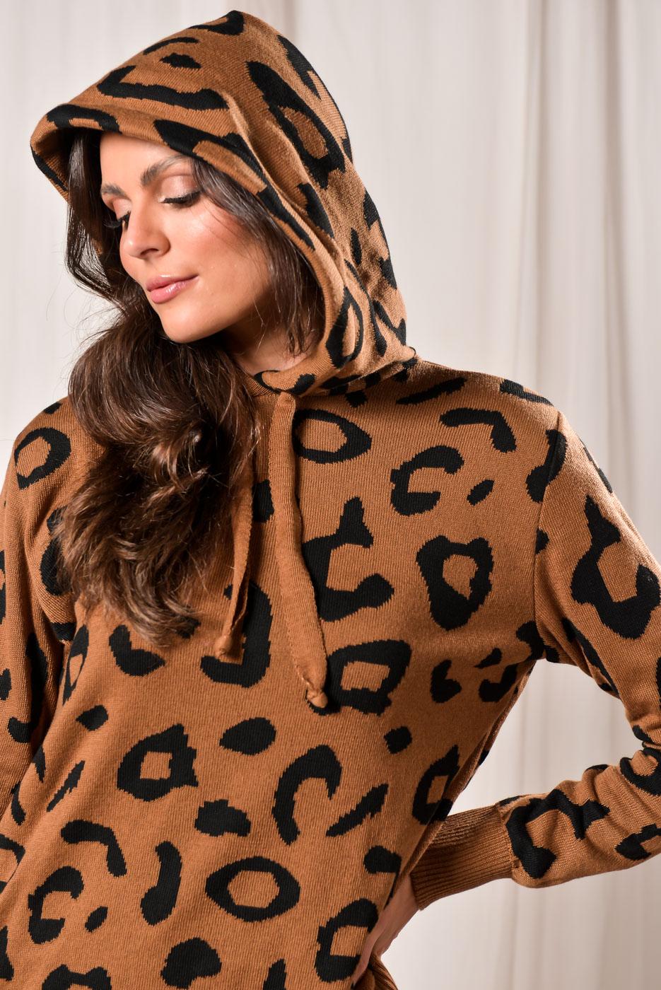 Casaco Com Capuz Animal Print - MARROM
