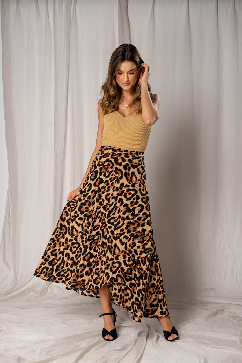 Saia Transpassada Animal Print