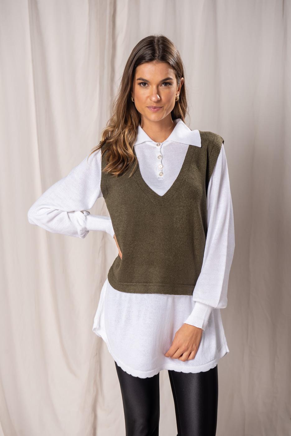 Tricot Efeito Camisa Maria