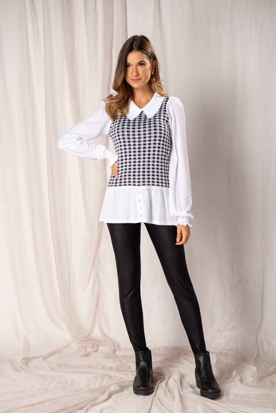 Tricot Efeito Camisa - Pied Poule