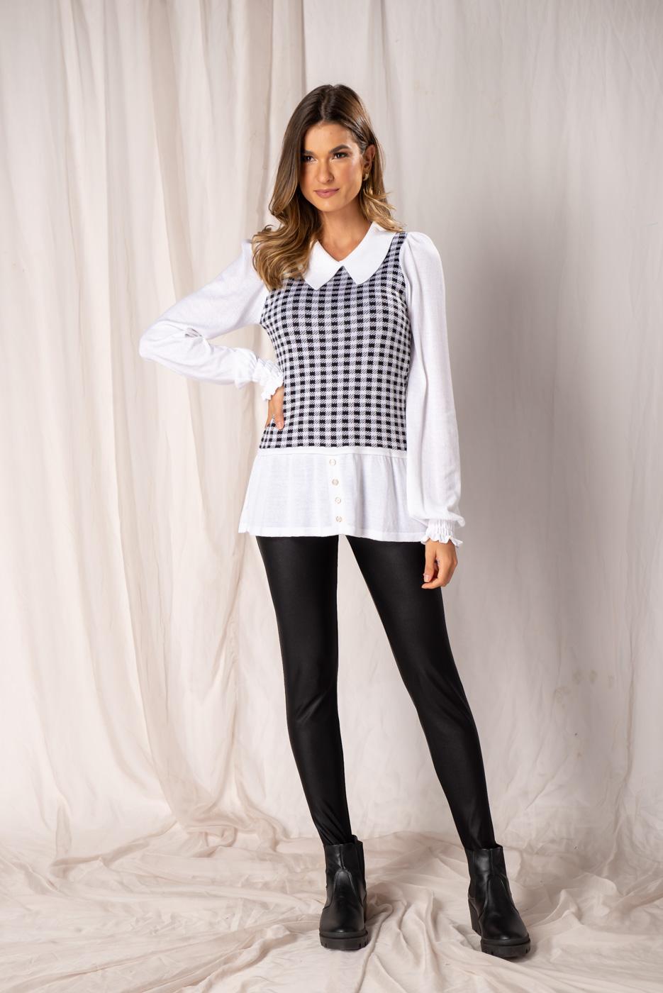 Tricot Efeito Camisa - Pied Poule