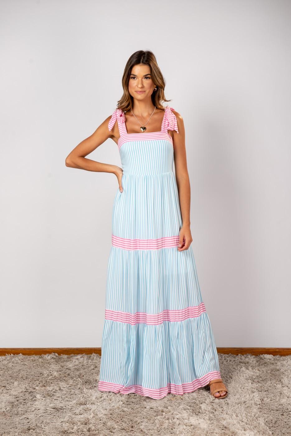 Vestido Andreia Listra Azul