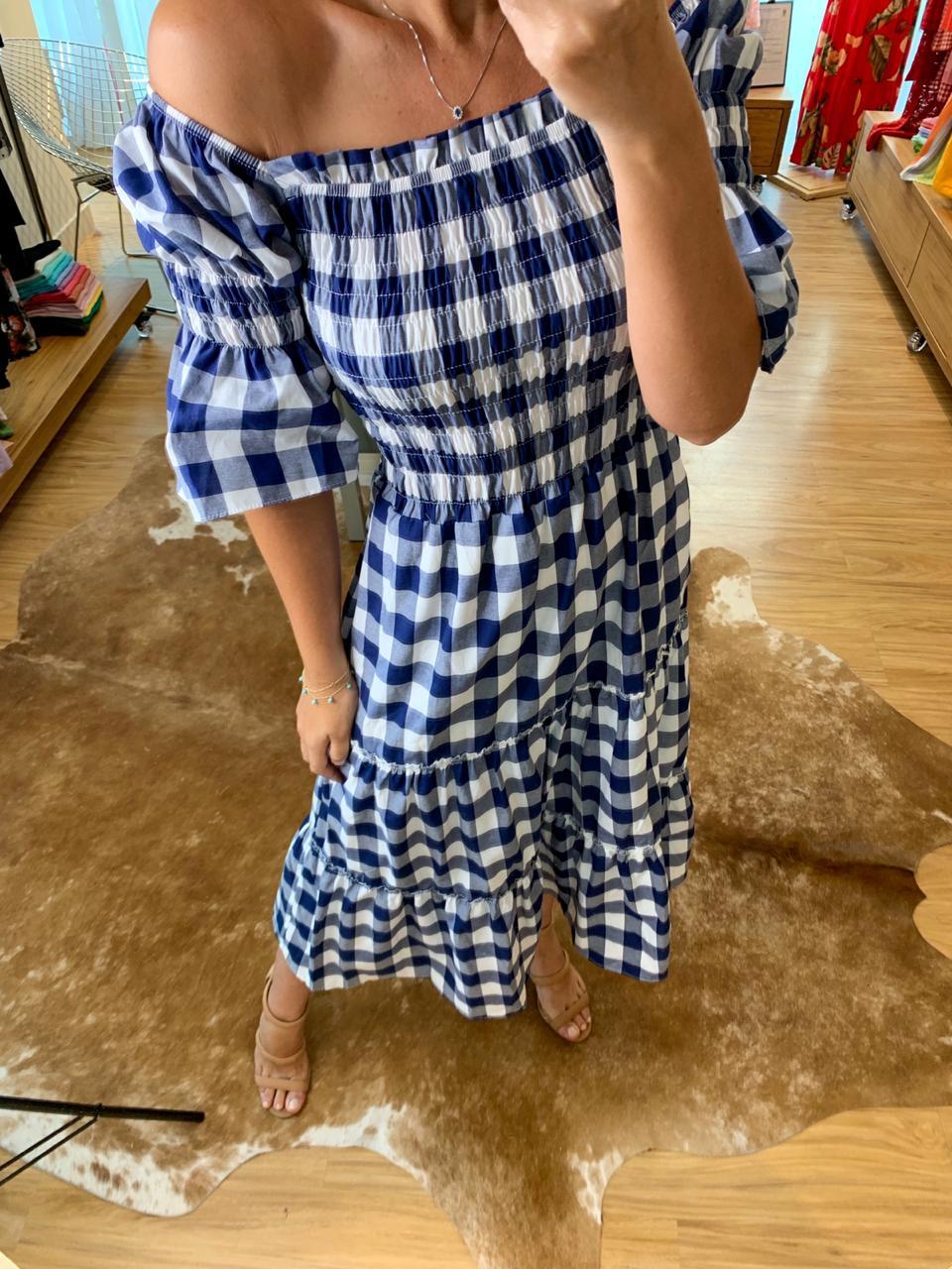 Vestido Clássico Vichy Marinho