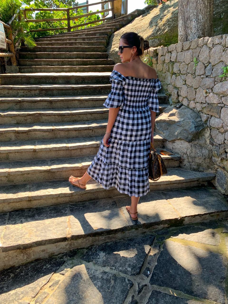 Vestido Clássico Vichy Preto