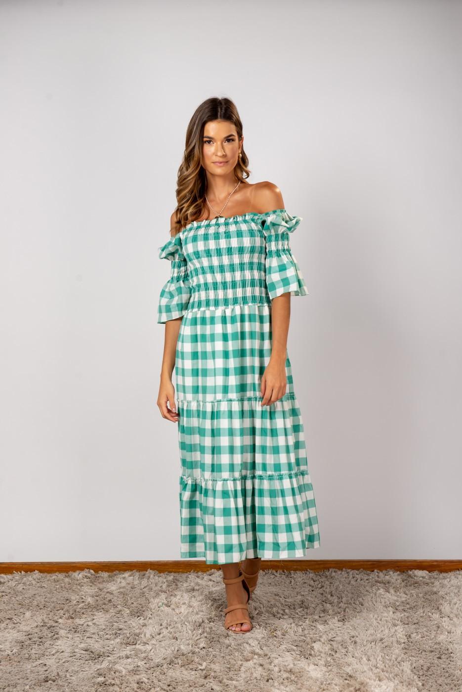 Vestido Clássico Vichy Verde