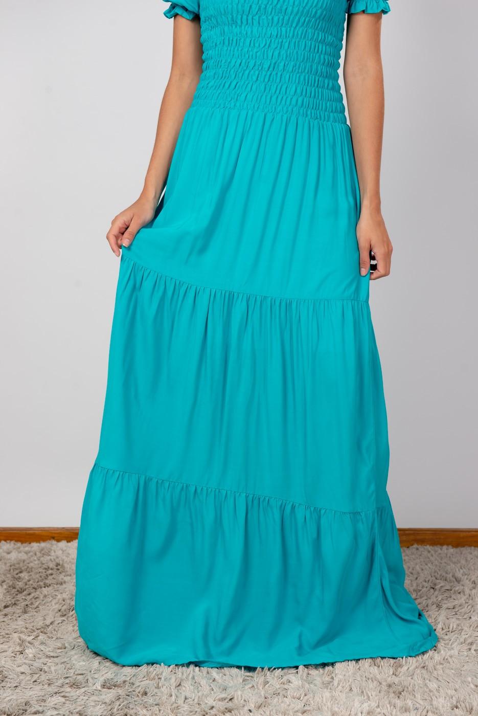 Vestido Lastex Ombro Azul