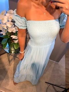 Vestido Lastex Ombro Azul Claro