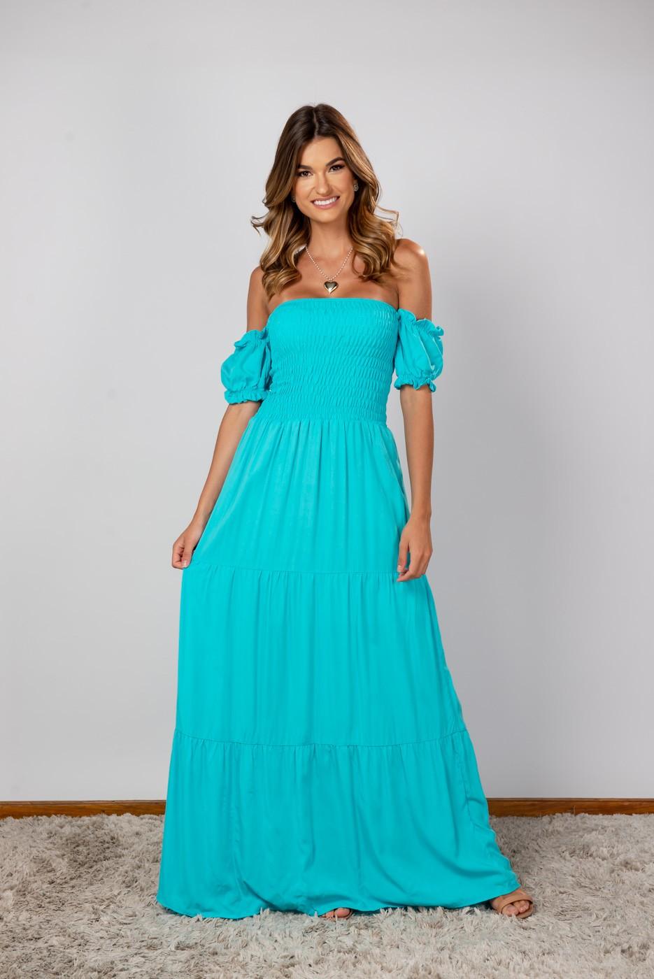 Vestido Lastex Ombro Azul Piscina