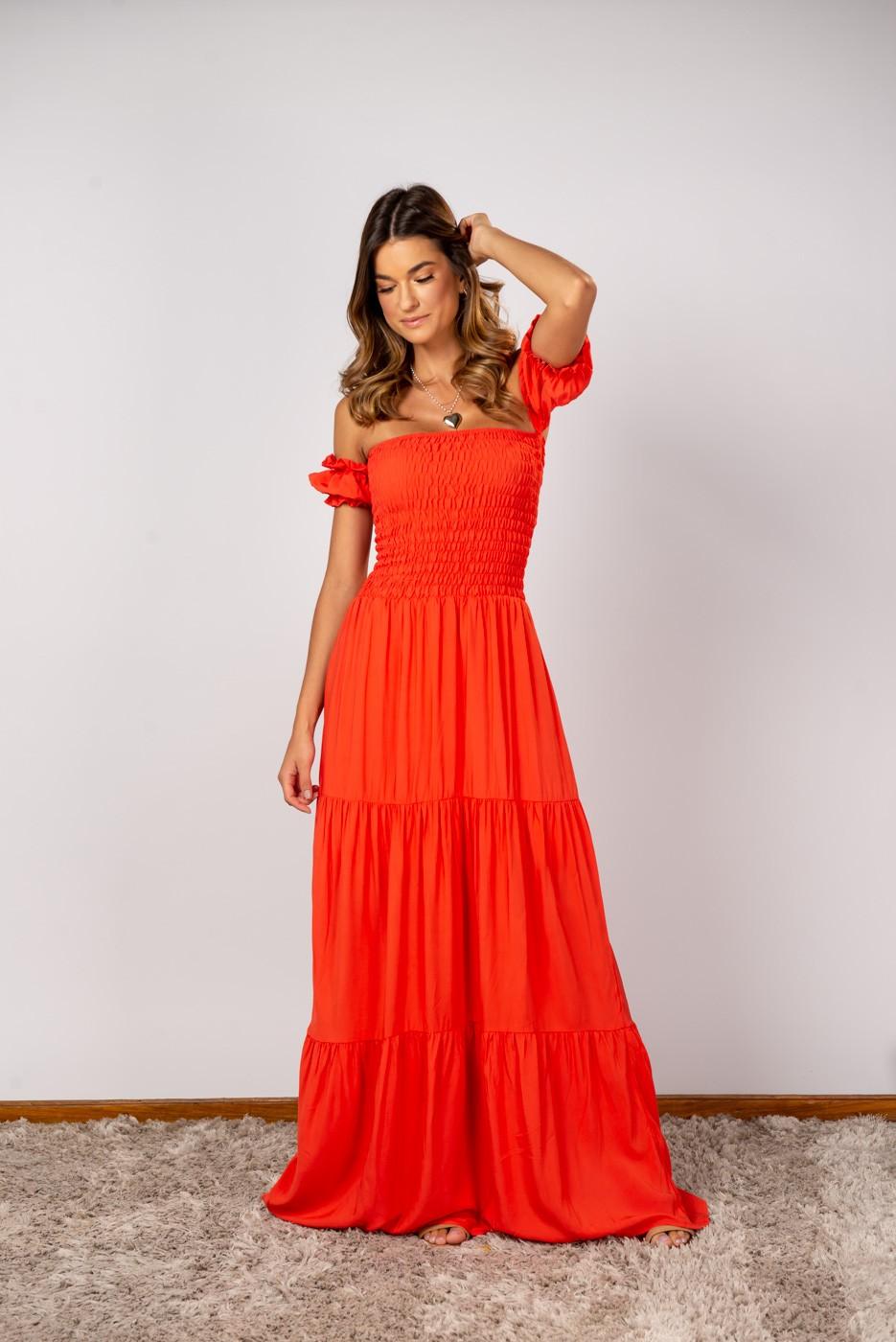 Vestido Lastex Ombro Coral