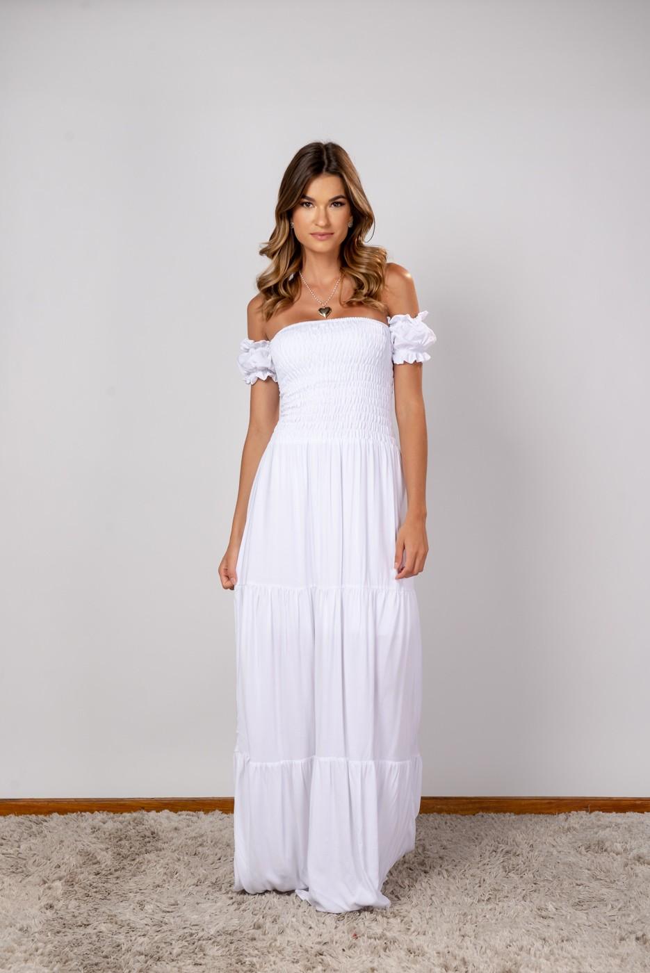 Vestido Lastex Ombro Off white
