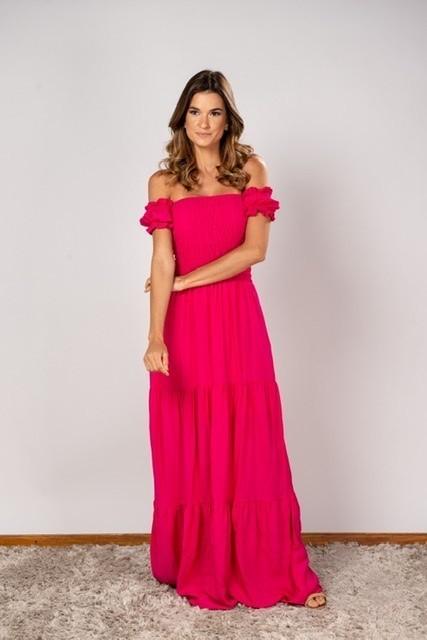 Vestido Lastex Ombro Pink
