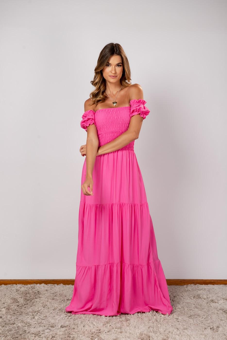Vestido Lastex Ombro Rosa Chiclete