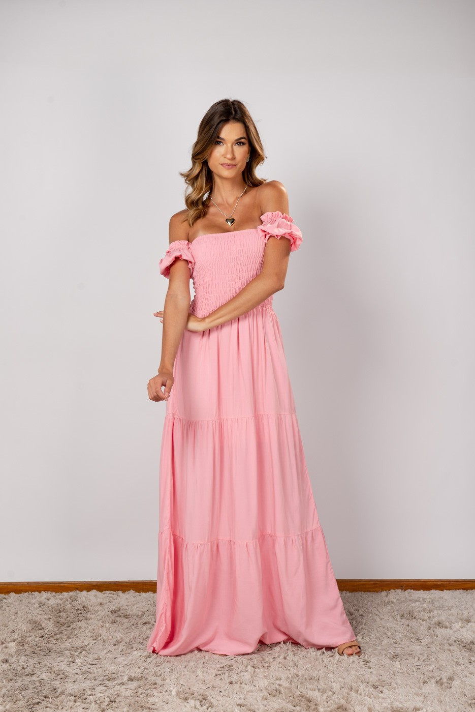 Vestido Lastex Ombro Rosa Claro