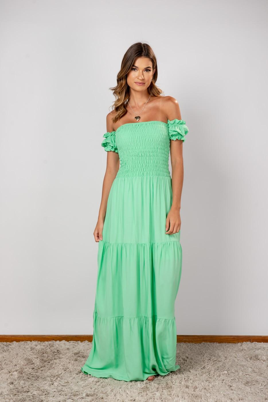 Vestido Lastex Ombro Verde