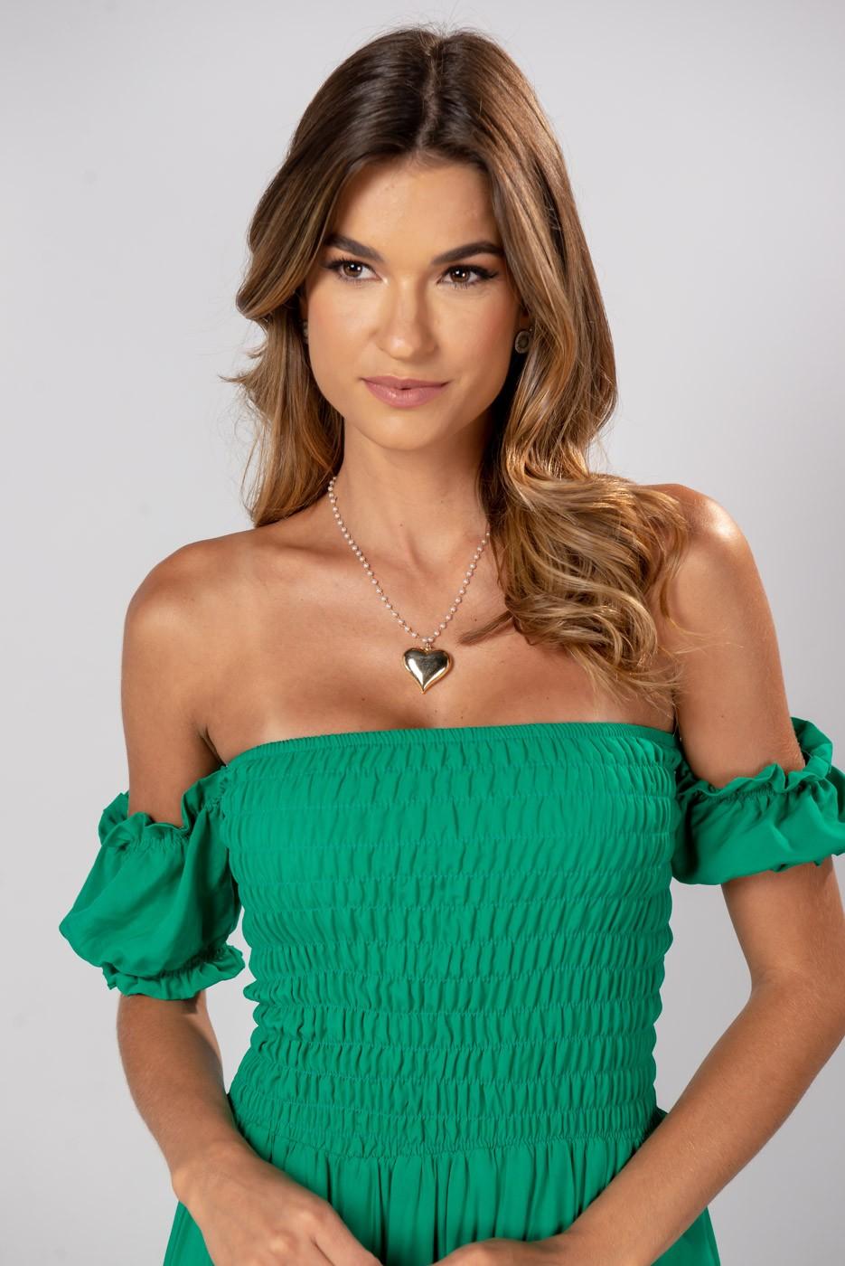Vestido Lastex Ombro Verde Bandeira