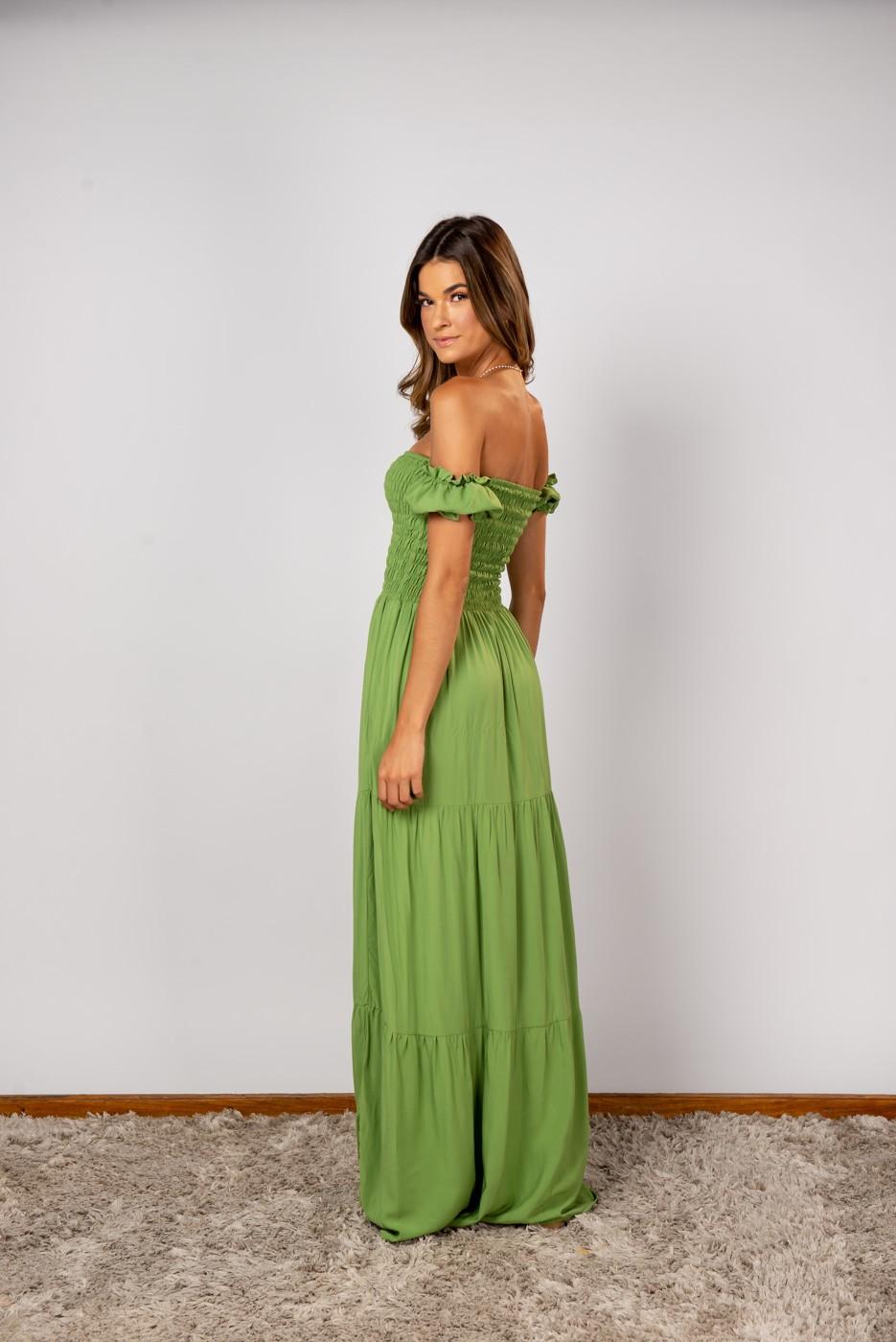 Vestido Lastex Ombro Verde Musgo