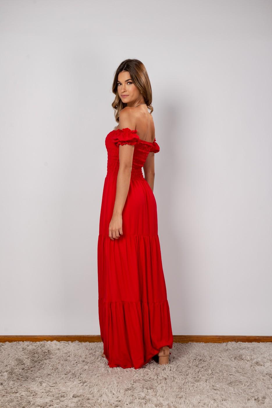 Vestido Lastex Ombro Vermelho