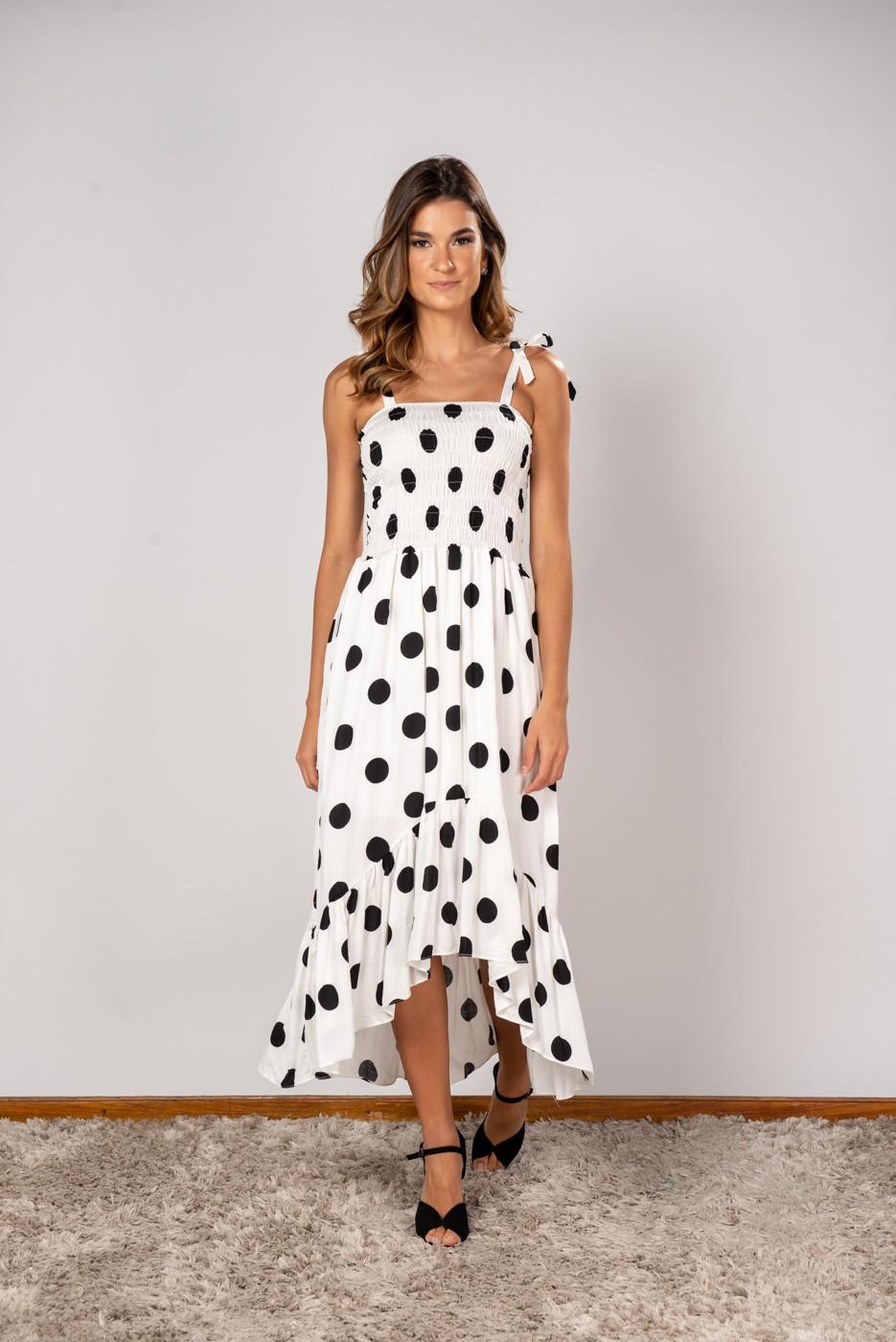 Vestido Lastex Poa Off white