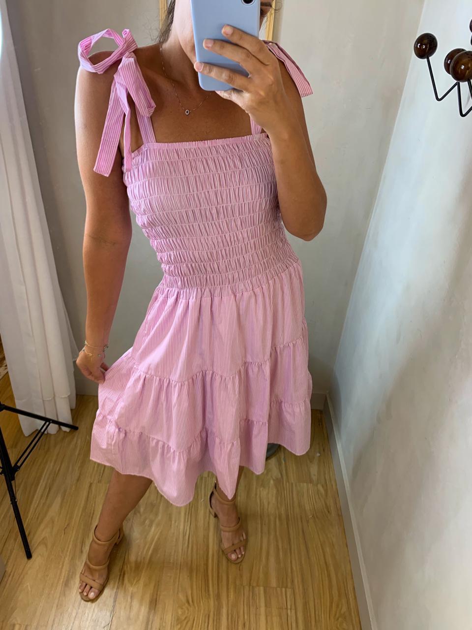 Vestido Listrado Luiza Rosa