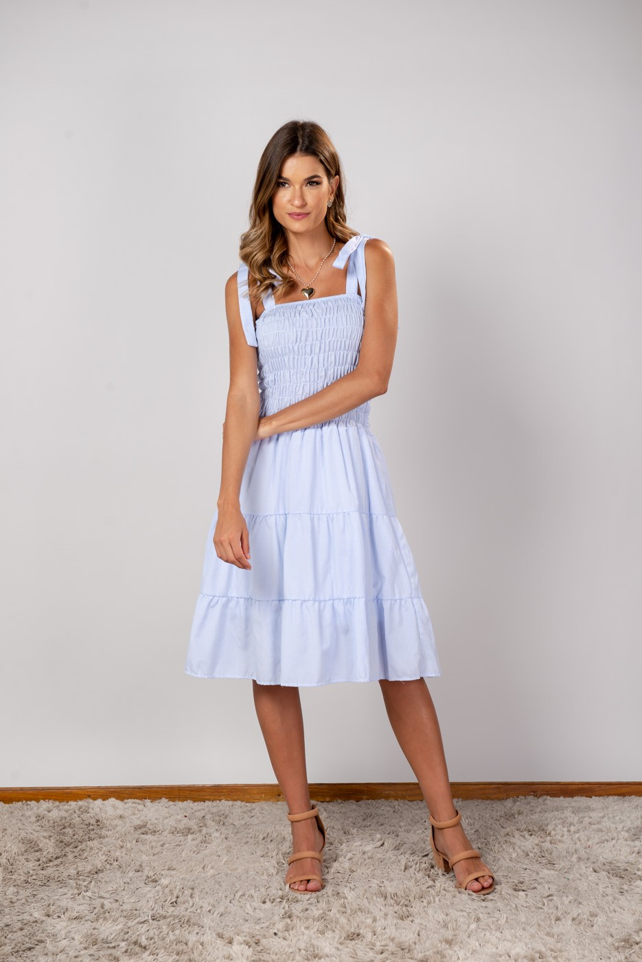 Vestido listra Luiza Azul Claro