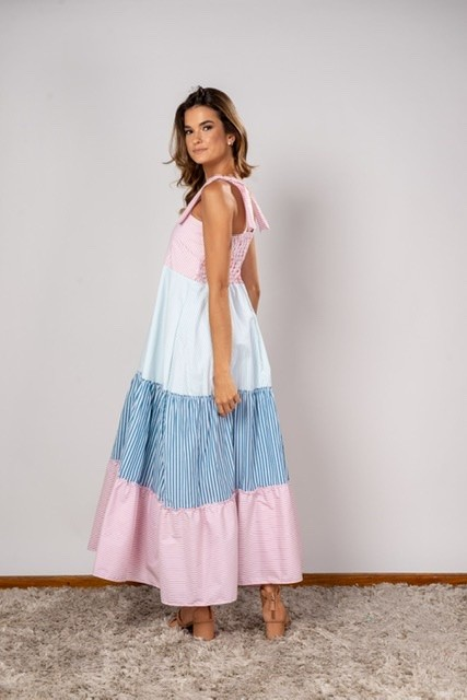 Vestido Longo Listra Azul