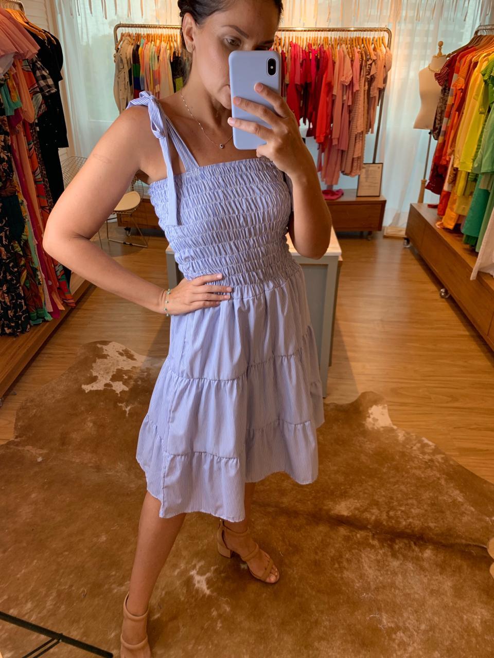 Vestido listra Luiza Azul Marinho