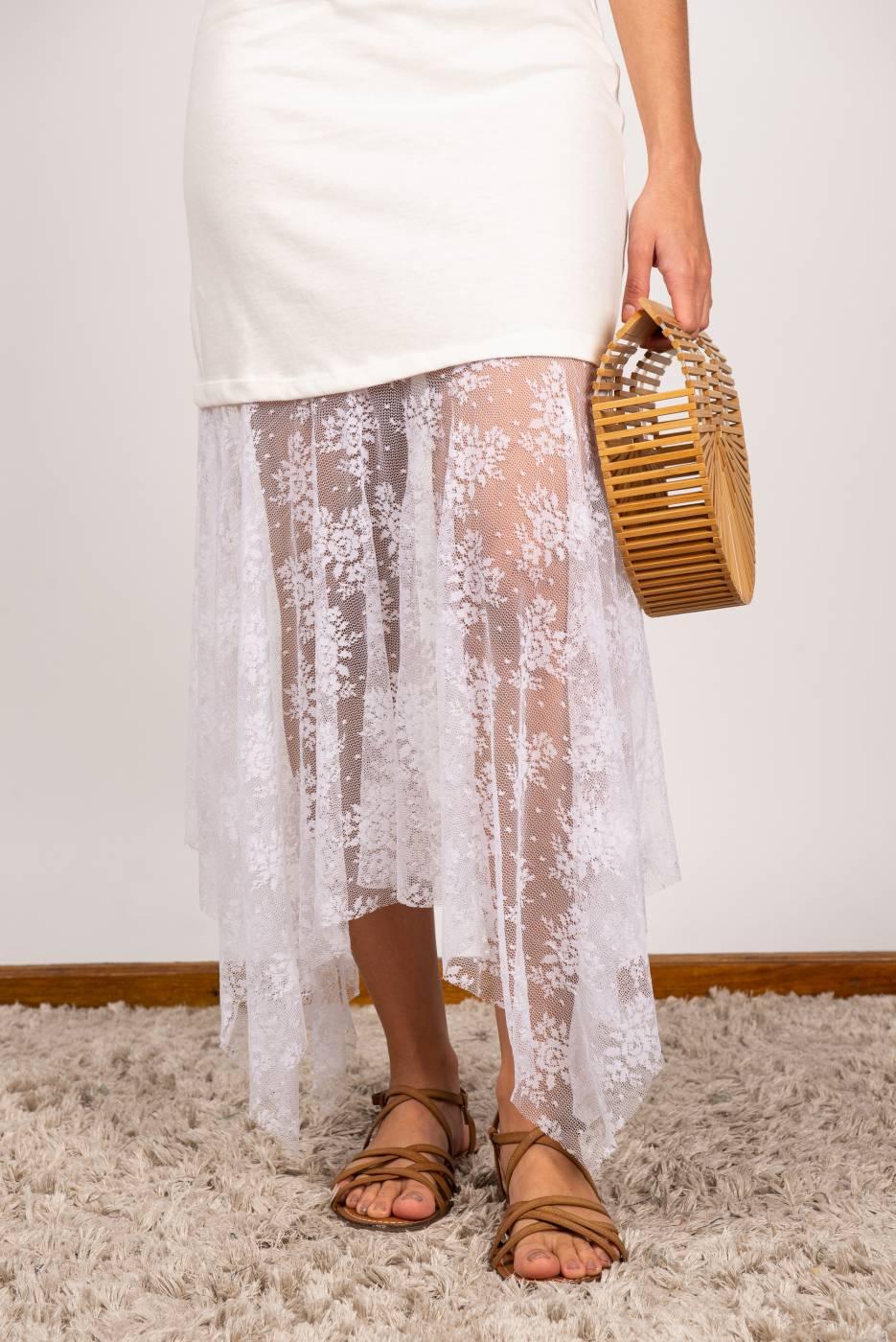 Vestido Malha Com Renda Off white