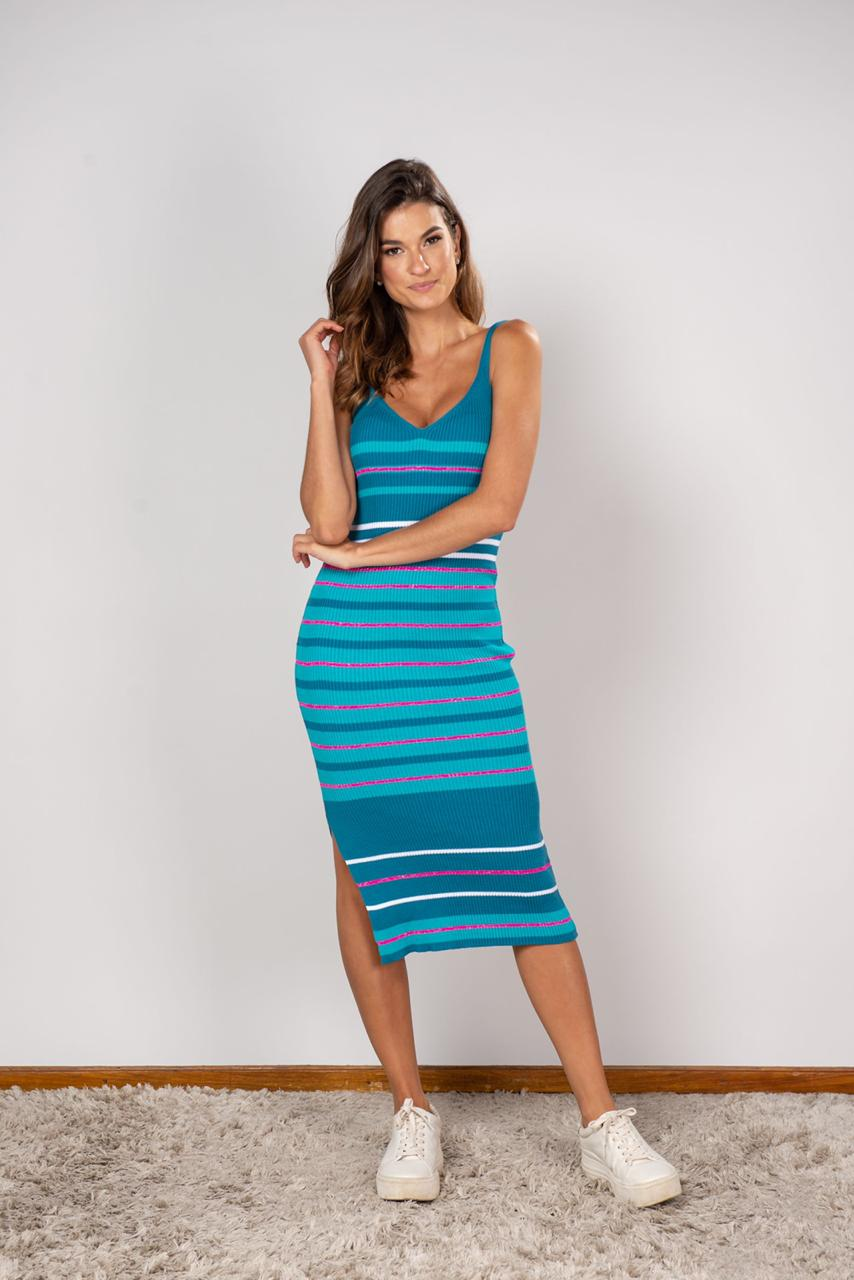 Vestido Midi Listra Azul Piscina