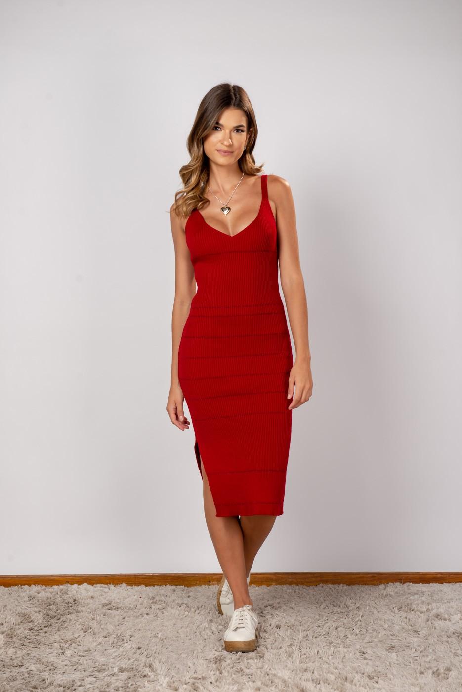 Vestido Midi Listra Vermelho