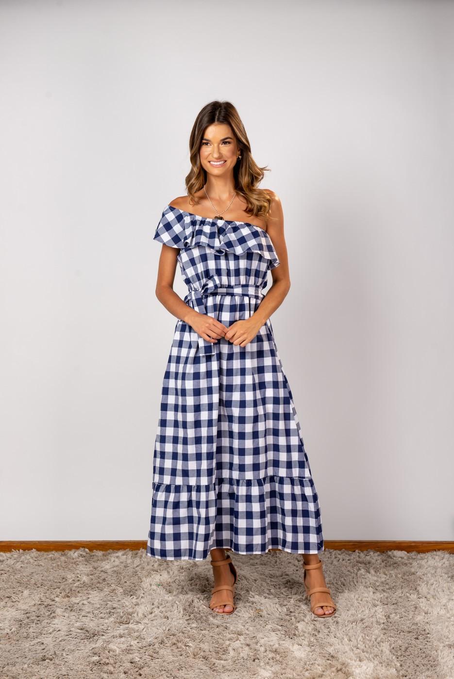 Vestido Nula Xadrez Azul Marinho