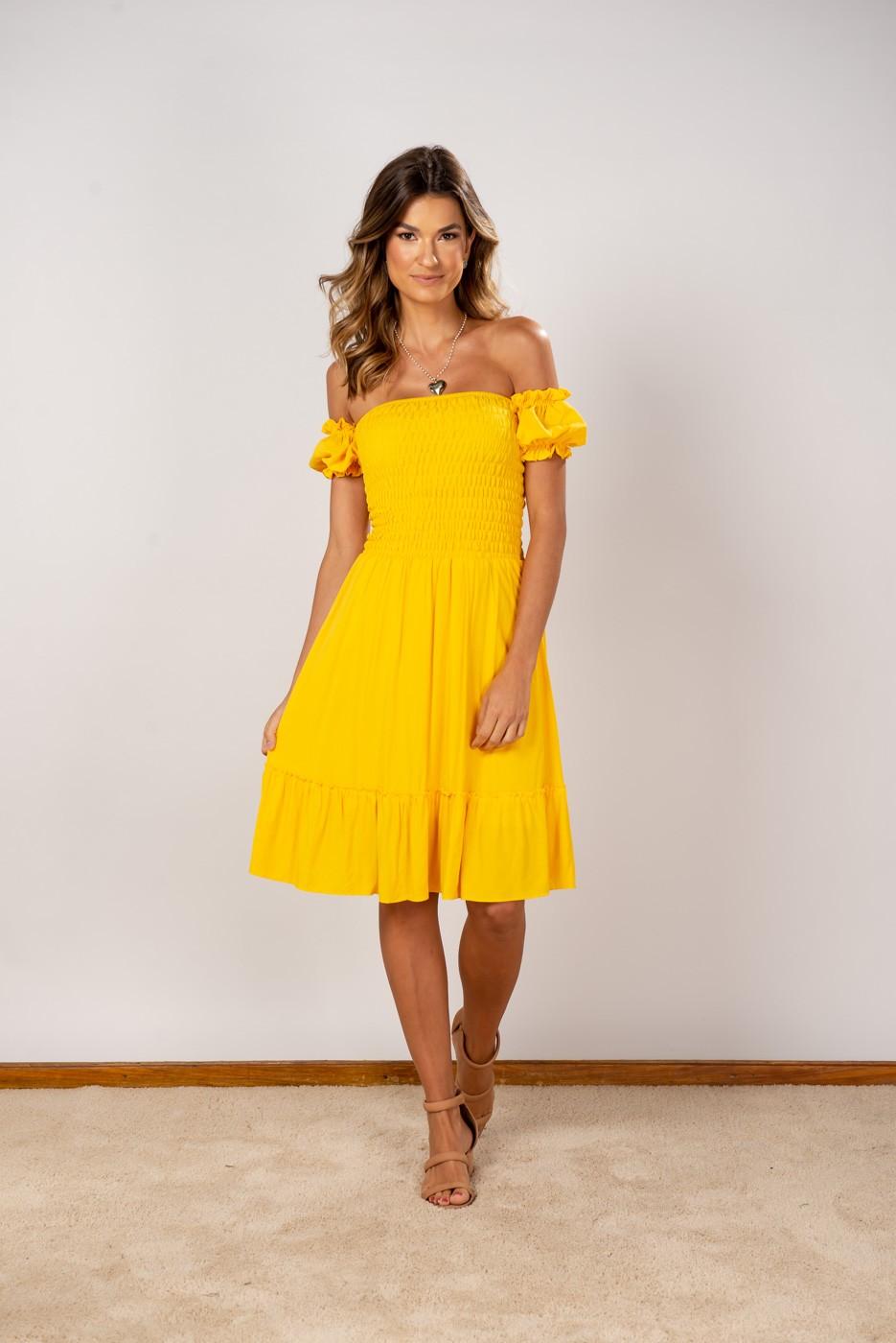Vestido Ombro Lastex Midi Amarelo