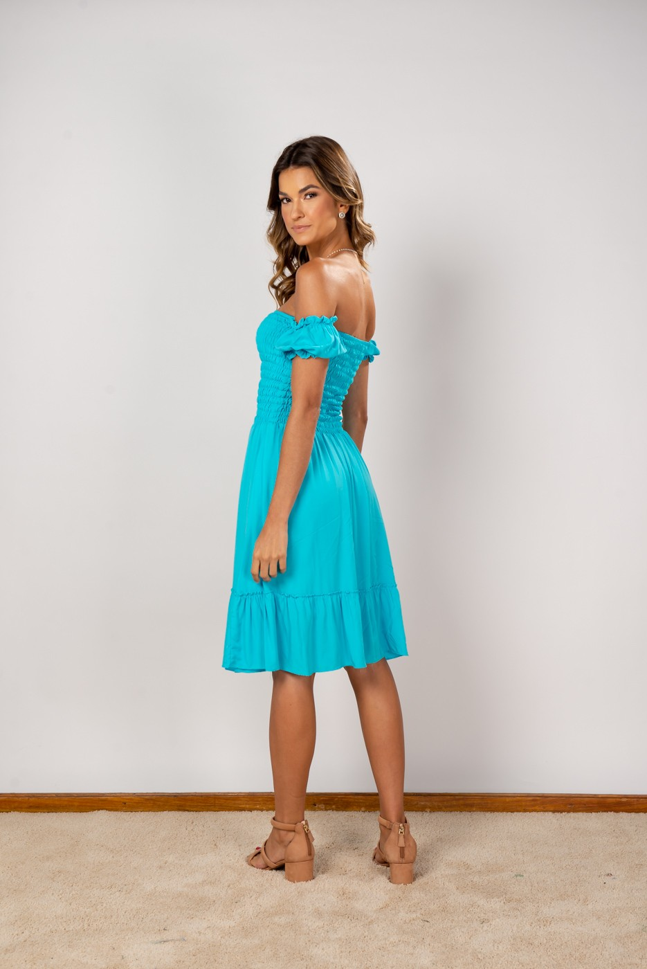 Vestido Ombro Lastex Midi Azul