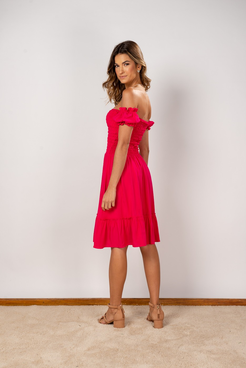 Vestido Ombro Lastex Midi Pink