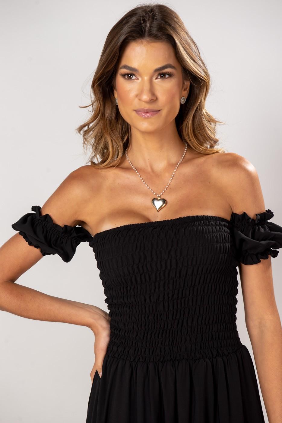 Vestido Ombro Lastex Midi Preto